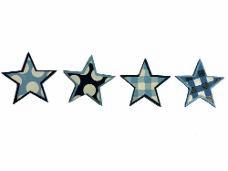 Drevený výrez hviezdička 3,5 cm - modré svetlé káro