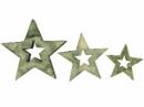 Drevený výrez hviezdička 3 kusy - vintage zelená