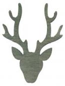 Drevený výrez jelenia hlava 4 cm - vintage sivý