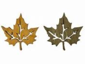 Drevený výrez jesenný list 5 cm - olivový