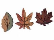 Drevený výrez jesenný javorový list 4,5cm - tehlový