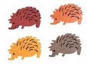 Drevený výrez jesenný ježko 4 cm - bordový