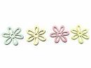 Drevený výrez kvet - 3cm - pastelový zelený