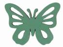 Drevený výrez motýľ krojený - 3,5cm - tyrkysový zelený