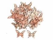 Drevený výrez 3,5 cm motýľ - krojený - lososový