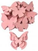 Drevený výrez motýľ 3cm - ružový