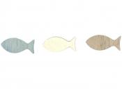 Drevený výrez 3 cm rybka - biela