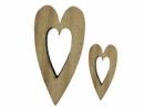 Drevený výrez srdce - sada 2 ks