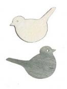 Drevený výrez vtáčik 4 cm - vintage šedý