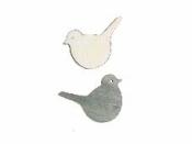 Drevený výrez vtáčik 2 cm - vintage šedý