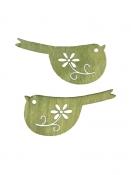 Drevený výrez vtáčik 2 cm folk - zelená rezeda