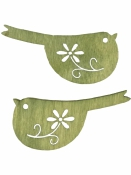Drevený výrez vtáčik 4 cm folk - zelená rezeda