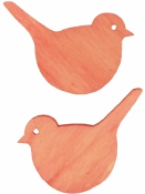 Drevený výrez 4 cm vtáčik - lososový