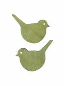 Drevený výrez 2cm vtáčik - zelený