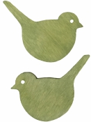 Drevený výrez 4 cm vtáčik - zelený
