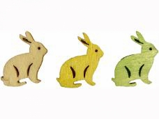 Drevený výrez 2 cm zajac  - zelený