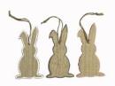Drevený zajac závesný 15 cm - sivý okraj