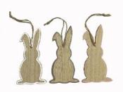 Drevený zajac závesný 15 cm - biely okraj