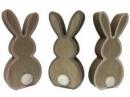 Drevený zajac 11 cm - sivý okraj