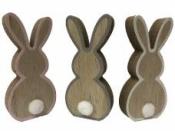 Drevený zajac 11 cm - biely okraj