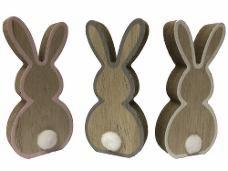 Drevený zajac 11 cm - ružový okraj
