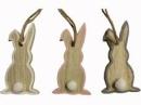 Drevený zajac závesný 8 cm - sivý okraj