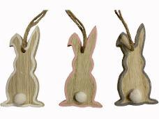 Drevený zajac závesný 8 cm - ružový okraj