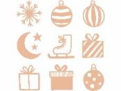 Dýhové výrezy - 27 ks - vianočné gule a darčeky