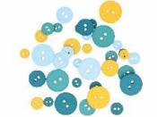 Farebné gombíky kruhy 36 ks - Crafty Cotton