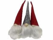 Filcový vianočný škriatok 13 cm  -  sivý