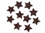 Glitrovaná hviezdička penová 4 cm - hnedá