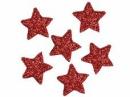 Glitrovaná hviezdička penová 4 cm - červená