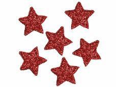 Glitrovaná hviezdička penová 5cm - červená
