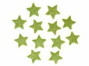 Glitrovaná hviezdička penová 2 cm - svetlá zelená