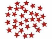 Glitrovaná hviezdička penová 2 cm - červená