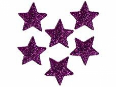 Glitrovaná hviezdička penová 5 cm - fialová
