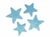 Glitrovaná hviezdička penová 4 cm - tyrkysovo modrá