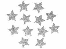 Glitrovaná hviezdička penová 2 cm - strieborná