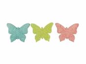 Glitrovaný motýľ penový 3,5cm - ružový