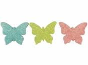 Glitrovaný motýľ penový 4,5cm - ružový