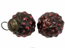Sklenená vintage vianočná guľa 6 cm - baroková červená