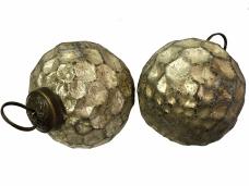 Sklenená vintage vianočná guľa 6 cm - antická zlatá