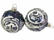 Sklenená vintage vianočná guľa 6 cm - modrá s ornamentom