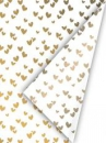 Hodvábny papier 50x70cm - zlaté srdiečka