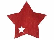 Drevený výrez hviezda 4cm - červená