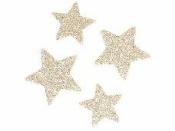 Glitrovaná hviezdička lepenková 3 cm - šampanská