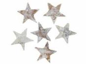 Hviezdy z brezovej kôry 2.5 cm  10 ks - vintage biele
