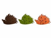 Drevený výrez jesenný ježko 4,5cm - oranžový