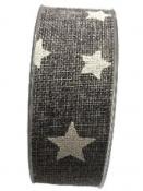 Jutová stuha s hviezdičkami 4 cm - antracitová