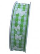Károvaná jarná stuha 27 mm s 3D motýľmi - zelená